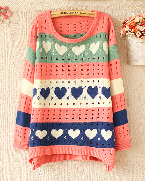 Heart Love Sweater,cute Hollow Pink Sweaters on Luulla