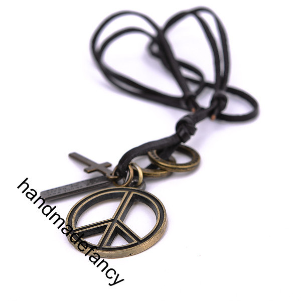 Peace Pendant Symbol Peace Festival Necklace Peace Sign Leather