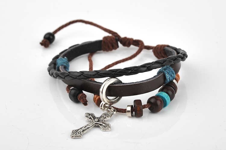 Cool Vintage Women Men Cross Charm Woven Leather Bracelets Jewelry ...